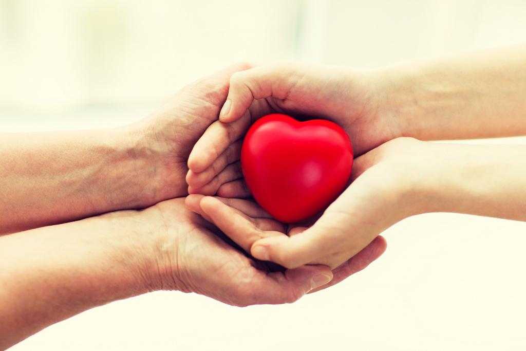 Två par händer håller i ett hjärta tillsammans.