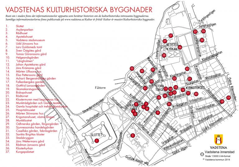 Kulturhistoriska byggnader i Vadstena - översiktskarta