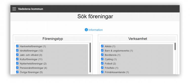 Skärmdump av kommunens föreningsregister, extern webbtjänst