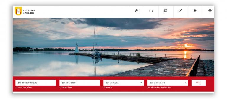 Företagsregister skärmdump från tjänstens förstasida