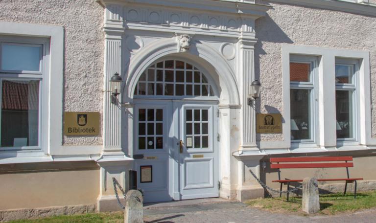 Biblioteket i Vadstena. Entrén.